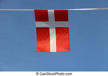 天空, 產生雜種, 丹麥, 背景。, 它, 紅色, 繩子, 旗, 懸挂, 藍色, 延伸, 斯堪的納維亞人, 織品, 邊緣, 白色, 微型, 布, 橫檔, 旗