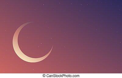 天空, 紫羅蘭色的月亮, 月牙, 藍色, 夜晚
