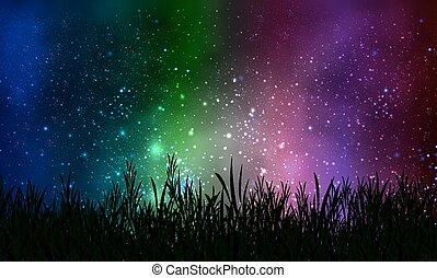 天空, 草, 宇宙, 背景, 夜晚