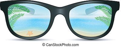 太陽鏡, 夏天, 海灘, 反映