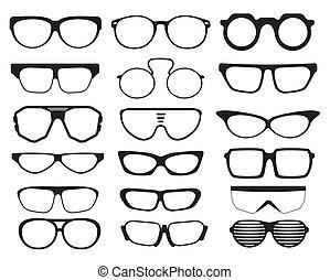 太陽鏡, 黑色半面畫像, 眼鏡