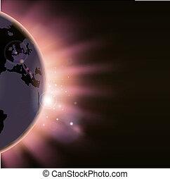 太陽, 在上方, 光線, 全球, 爆發