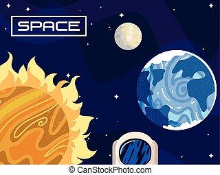 太陽, 地球, 月亮, 空間, 宇宙, 天文學, 行星