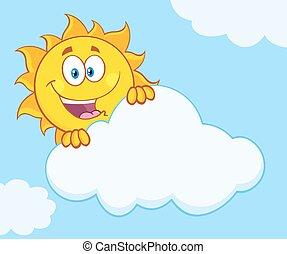 太陽, 後面, 愉快, 雲, 隱藏