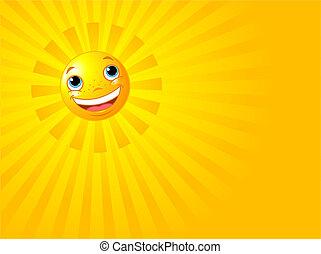 太陽, 微笑高興, 背景, 夏天