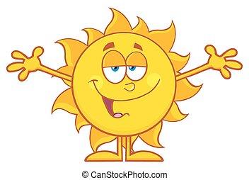 太陽, 微笑, 打開武器, 愛