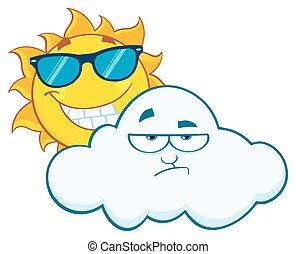 太陽, 微笑, 脾氣壞, 雲