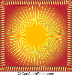 太陽, 摘要, 框架, (vector), 紅色