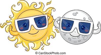 太陽, 日蝕, 月亮, 太陽, 眼鏡, 吉祥人