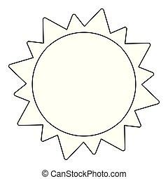 太陽, 符號, 被隔离, 黑色, 白色, 卡通