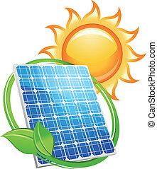 太陽, 符號, 電池, 太陽面板