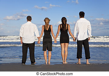 夫婦, 人們, 年輕, 二, 四, 扣留手, 海灘