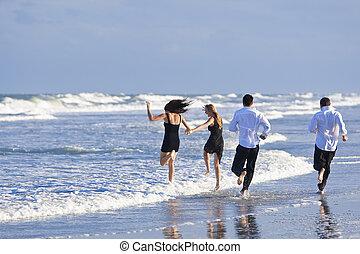 夫婦, 人們, 年輕, 二, 四, 樂趣, 海灘, 有