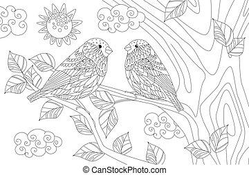 夫婦, 分支, 漂亮, 陽光普照, 鳥, 天的樹, c, 你