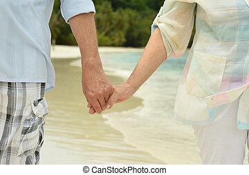 夫婦, 向前, 步行, 年長, 海岸