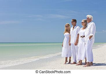 夫婦, 家庭, 二, 一起, 熱帶, 扣留手, 海灘, 代
