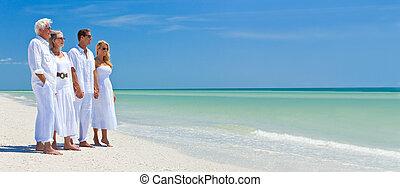 夫婦, 家庭, 二, 熱帶, 扣留手, 海灘, 代