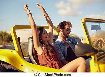 夫婦, 年輕, 快樂, 享用, 旅行, 路