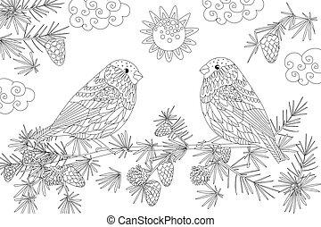 夫婦, 松樹, 分支, bullfinches, 漂亮, 陽光普照, 天的樹