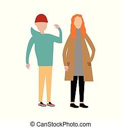 夫婦, 步行, 一起。