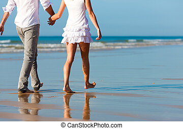 夫婦, 步行, 有, 假期