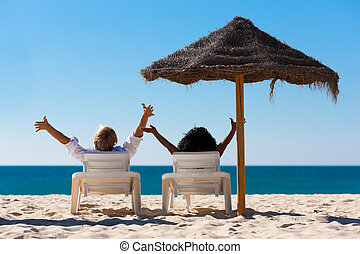 夫婦, 海灘假期, sunshade
