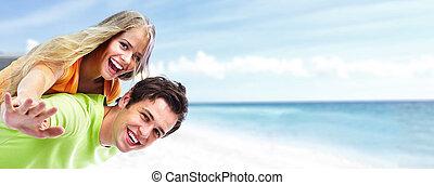 夫婦, 海灘。, 年輕, 愉快