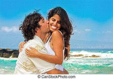 夫婦, 海灘, 有吸引力