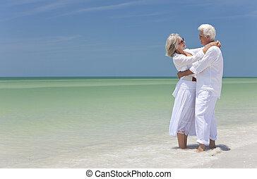 夫婦, 熱帶, 擁抱, 年長者, 海灘, 愉快