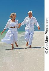 夫婦, 熱帶, 跑, 年長者, 海灘, 愉快