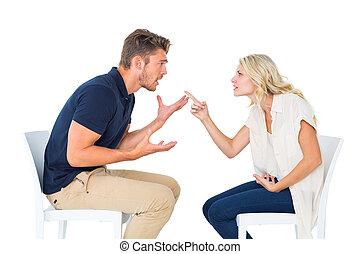 夫婦, 爭辯, 椅子, 年輕, 坐