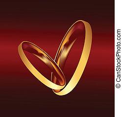 夫婦, 矢量, 戒指, 金, 婚禮