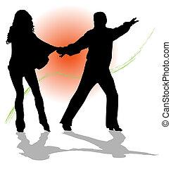 夫婦, 矢量, 探戈舞, 跳舞