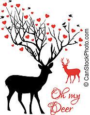 夫婦, 矢量, 鹿, 紅色, 心