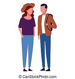夫婦, 面臨, 一起步行
