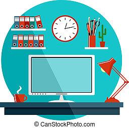 套間, 事情, 辦公室, equipment., 插圖, 矢量