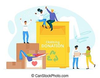 套間, 人們, 插圖, 矢量, 一起, 捐贈, 慈善, 衣服