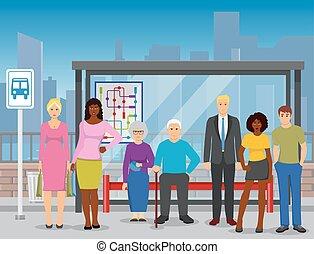 套間, 人群, 海報, 停止, 公共汽車, 作品