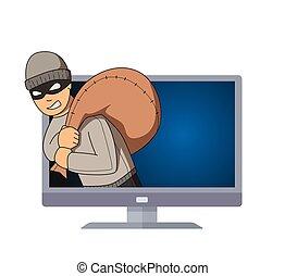 套間, 他的, 夜盜, 監控, 袋子, 字, 被隔离, 跳躍, shoulder., 背景。, 矢量, 戴面具, tv., 白色, 犯罪, 在外, illustration.