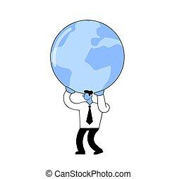 套間, 全球, illustration., 矢量, 藏品, 白色, 大, 商人, 他的, 卡通, 背景。, 被隔离, style., 肩
