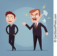 套間, 叫喊, 憤怒, 字, 插圖, 老板, 矢量, worker., 卡通
