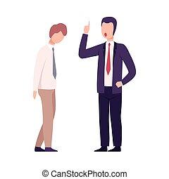 套間, 叫喊, 辦公室, 使震惊, 緊張, 雇員, 受驚, 工人, 威脅, 狂怒, 老板, 男性, 矢量, 粗魯, 工作, 插圖, 環境, 經理