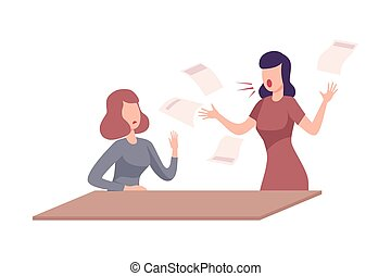 套間, 叫喊, 辦公室, 女性, 使震惊, 緊張, 雇員, 受驚, 工人, 威脅, 狂怒, 老板, 矢量, 工作, 插圖, 環境, 經理