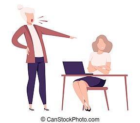 套間, 叫喊, 辦公室, 女性, 使震惊, 緊張, 雇員, 受驚, 工人, 威脅, 狂怒, 老板, 矢量, 粗魯, 工作, 插圖, 環境, 經理
