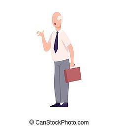 套間, 叫喊, 辦公室, 字, 威脅, 憤怒, 或者, 老板, 男性, 工人, 矢量, 插圖
