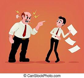 套間, 叫喊, 辦公室, 憤怒, 字, 插圖, 老板, 矢量, worker., 雇員, 卡通