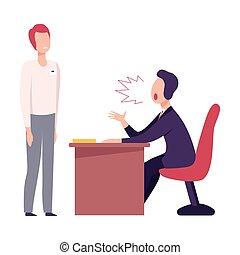 套間, 叫喊, 辦公室, 緊張, 工人, 威脅, 老板, 男性, 矢量, 粗魯, 插圖, 環境, 工作