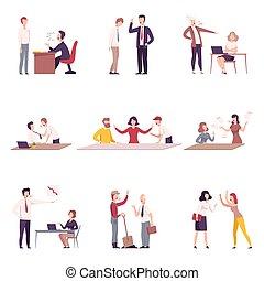 套間, 叫喊, 辦公室, 緊張, 集合, 威脅, 工人, 矢量, 老板, 插圖, 環境, 工作