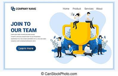 套間, 合伙人, 矢量, 大, 成功, 戰利品, members., concept., 网, 旗幟, 加入, 插圖, work., 隊, 事務, 看, 新, 人們, 我們