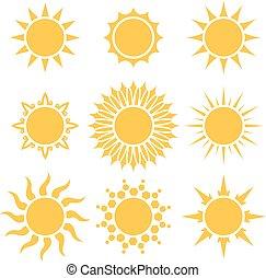 套間, 太陽, 被隔离, 黃色, 形狀, 背景。, 白色, 卡通